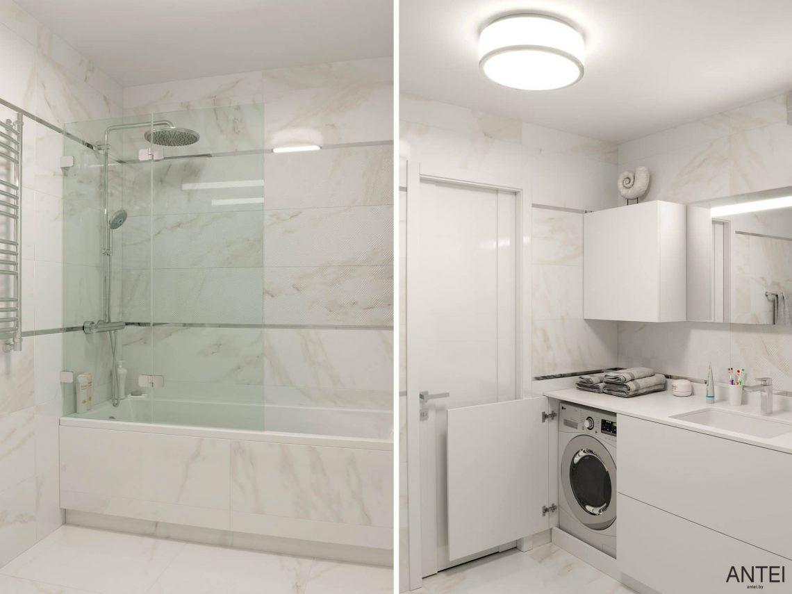 Дизайн интерьера трехкомнатной квартиры в Гомеле, по ул. Бородина - ванная фото №3
